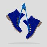 Vektorillustration von blauen Stiefeln Lizenzfreie Stockfotografie