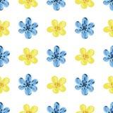 Vektorillustration von blauen und gelben Blumen Lizenzfreie Stockbilder