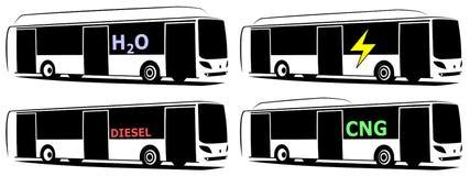 Vektorillustration von Bussen einer Stadt unter Verwendung der alternativen Brennstoffe lizenzfreie stockfotos