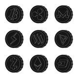 Vektorillustration von cryptocurrency und Münzenzeichen Satz von cryptocurrency und von Schlüsselvektorillustration auf Lager stock abbildung