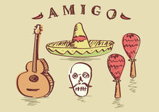Vektorillustration von den Hand gezeichneten mexikanischen Gegenständen eingestellt Lizenzfreie Stockfotografie