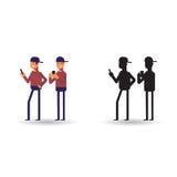 Vektorillustration von den Männern, die im Telefon spielen Ikonenmann und -er Schattenbild in der Karikaturart stockbild