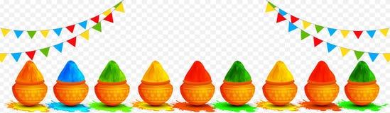 Vektorillustration von den tönernen Töpfen voll von den trockenen Farben verziert auf transparentem Hintergrund stock abbildung
