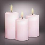 Vektorillustration von drei rosa Kerzen Lizenzfreie Stockfotografie