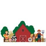 Vektorillustration von Familienlandwirten Lizenzfreies Stockbild