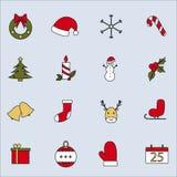 Vektorillustration von flachen Weihnachtsikonen lizenzfreie abbildung
