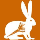 Vektorillustration von Hasen auf orange Hintergrund Stockbild
