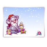 Vektorillustration von Hasen im Weihnachtshut Stockbild
