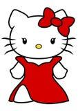 Vektorillustration von Hello Kitty mit langem rotem Kleid und roten dem Bogen lokalisiert auf weißem Hintergrund, Karikatur lizenzfreies stockbild