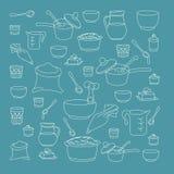 Vektorillustration von Küchengeräten Stockfotos