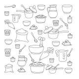 Vektorillustration von Küchengeräten Stockfoto