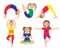 Vektorillustration von Kinderyogapositionen Kindertätigkeiten Lizenzfreies Stockbild