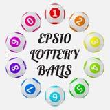 Vektorillustration von Lotteriebällen sortiert um Text vektor abbildung