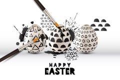 Vektorillustration von Malereieiern mit Bürste Kunst- und Handwerkskonzept Glückliche Ostern-Grußkarte oder -plakat lizenzfreie abbildung