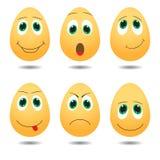 Vektorillustration von netten Eiern mit Ausdrücken Stockbilder