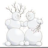 Vektorillustration von netten verliebten Schneemännern Lizenzfreies Stockbild