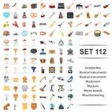 Vektorillustration von oktoberfeest, musikalisch, Instrument, Pilz, Museumsfilmpreisbergsteigen-Ikonensatz lizenzfreie abbildung