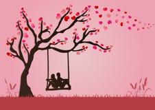 Vektorillustration von Paaren schwingen unter Liebesbaum mit Papierkunstart für Valentinsgrußfestival Lizenzfreie Stockbilder