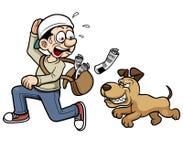 Paperboy, der einen Hund laufen lässt stock abbildung