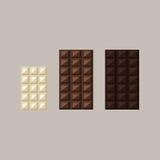 Vektorillustration von Schokoriegeln: Weiß, Milch, dunkel Stockfotografie