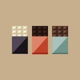 Vektorillustration von Schokoriegeln: Weiß, Milch, dunkel Lizenzfreies Stockbild