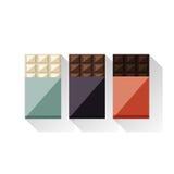 Vektorillustration von Schokoriegeln: Weiß, Milch, dunkel Stockfotos