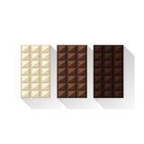 Vektorillustration von Schokoriegeln: Weiß, Milch, dunkel Lizenzfreie Stockbilder