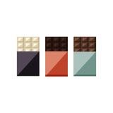 Vektorillustration von Schokoriegeln: Weiß, Milch, dunkel Stockbilder
