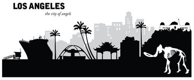 Vektorillustration von Stadtbildskylinen Los Angeless Kalifornien Stockfoto