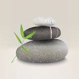 Vektorillustration von Steinen mit Bambusblatt Stockfoto
