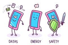 Vektorillustration von Stimmung drei des Charaktertelefons auf weißem Ba vektor abbildung