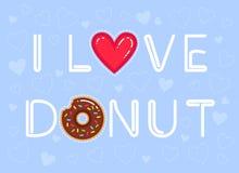 Vektorillustration von Text ` I Liebes-Donut ` mit Schokoladenglasur und rotem Herzen Stockbild