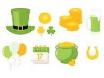 Vektorillustration von traditionellen Symbolen St. Patrick Day stock abbildung