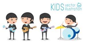 Vektorillustration von vier Kindern in einer Musikband, Kinder, die Musikinstrumente spielen Stockfotos