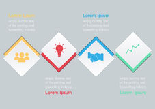 Vektorillustration von vier quadratischen Wahlen infographic Stockbilder