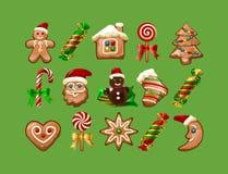 Vektorillustration von Weihnachtsbonbons Stockfotos