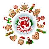Vektorillustration von Weihnachtsbonbons Stockbilder