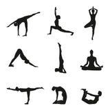 Vektorillustration von Yoga wirft Schattenbild auf stock abbildung