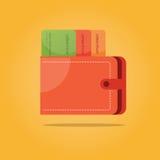 Vektorillustration von Zahlungssymbolen Geldbörse mit Kreditkarte Lizenzfreie Stockfotos