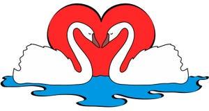 Vektorillustration von zwei Schwänen in der Liebe Lizenzfreie Stockbilder
