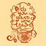 Vektorillustration wünschen Sie etwas Tee? Gusszusammensetzung Illustration für Postkarten, Poster, Fahnen Lizenzfreie Stockfotos