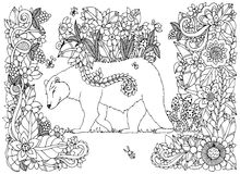 Vektorillustration Zen Tangle-Bär mit Blumen Gekritzel, das Blumenrahmen zeichnet Malbuchantidruck für Erwachsene Stockbilder