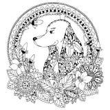Vektorillustration Zen Tangle Dog im runden Rahmen mit Blumen Gekritzelkunst Malbuchantidruck für Erwachsene Schwarzes Weiß Lizenzfreie Stockbilder