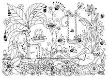Vektorillustration Zen Tangle-Hausrettiche Lizenzfreies Stockbild