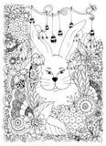Vektorillustration Zen Tangle-Kaninchen in den Blumen Gekritzelkunst Malbuchantidruck für Erwachsene Schwarzes Weiß Lizenzfreie Stockfotografie