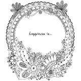 Vektorillustration Zen Tangle, klotterrundaram med blommor, mandala Anti-spänning för färgläggningbok för vuxna människor Svart v Arkivbild