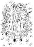 Vektorillustration Zen Tangle-Mädchen mit Sommersprosseschlaf Stockfotografie