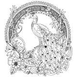 Vektorillustration Zen Tangle, Pfau und Blumen Lizenzfreies Stockfoto