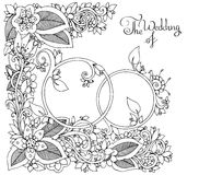 Vektorillustration Zen Tangle Wedding-Ringe in den Blumen Gekritzelzeichnung, mit Blumen Malbuchantidruck für Erwachsene Stockbild