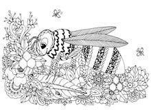 Vektorillustration Zen Tangle, Wespe und Blumen Vektor ENV 10 Malbuchantidruck für Erwachsene Schwarzes Weiß Stockfoto